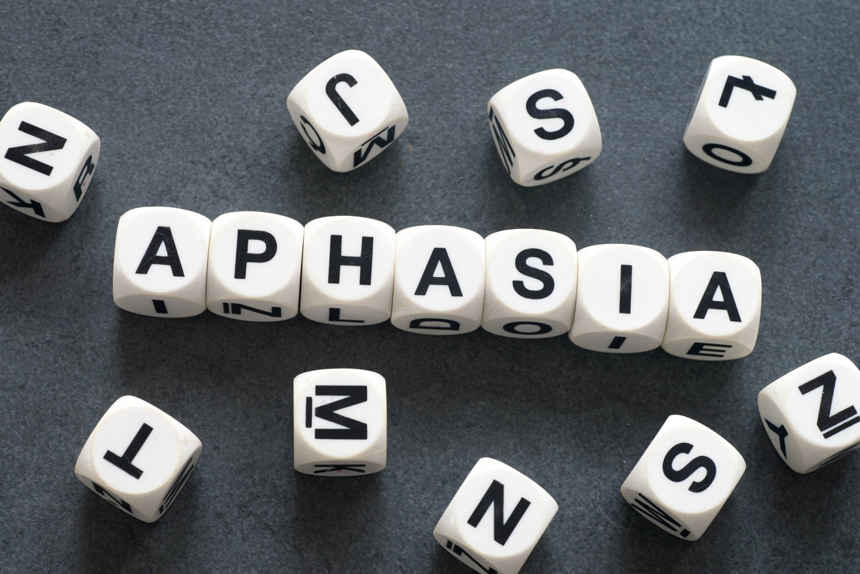 word aphasia on white toy cubes